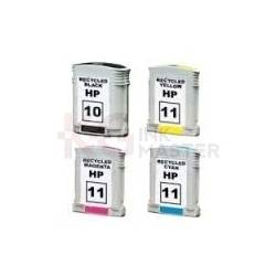 4 Pack HP 10 + 11 Compatible Inkjet Cartridges C4844AA+C4836AA-C4838AA [1BK,1C,1M,1Y]